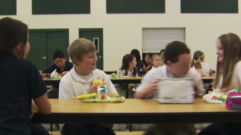 students welcoming a girl at lunch - see other clips from this shoot 1148 stock videos & royalty-free footage