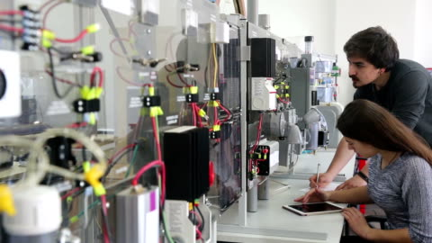 students working in laboratory of renewable energy. - turkish ethnicity stock videos & royalty-free footage