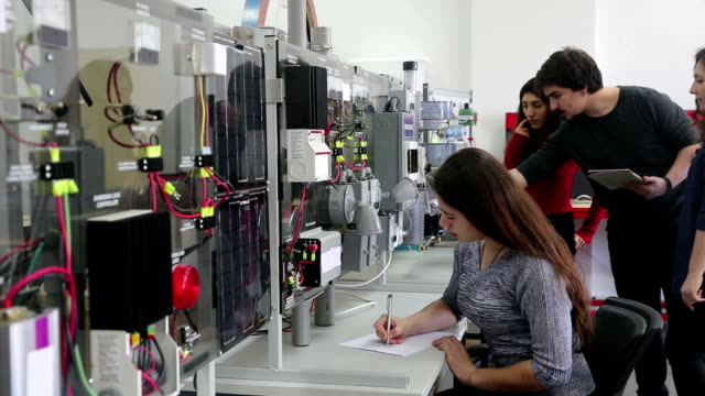 Students working in laboratory of renewable energy.