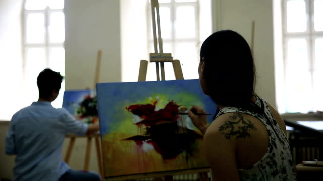 students working on painting - art class stock videos & royalty-free footage
