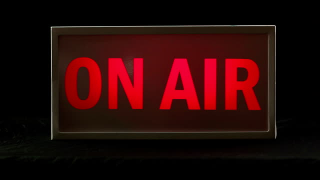 studio on air sign, tv & radio station live light - radio studio stock videos & royalty-free footage