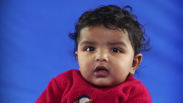 cu studio portrait of baby boy (6-11 months) on blue screen - kelly mason videos stock-videos und b-roll-filmmaterial