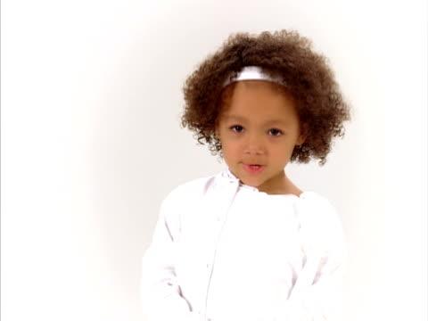 ms, studio portrait of cute girl (4-5), raleigh, north carolina, usa - shy stock videos & royalty-free footage