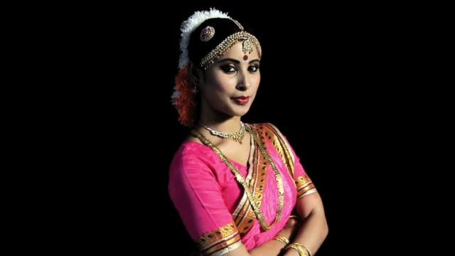 ms, studio portrait of kuchipudi dancer, india - sari stock videos & royalty-free footage