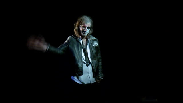 ms studio portrait of man with painted face wearing leather jacket, waving, new york city, new york, usa - leather jacket stock videos & royalty-free footage