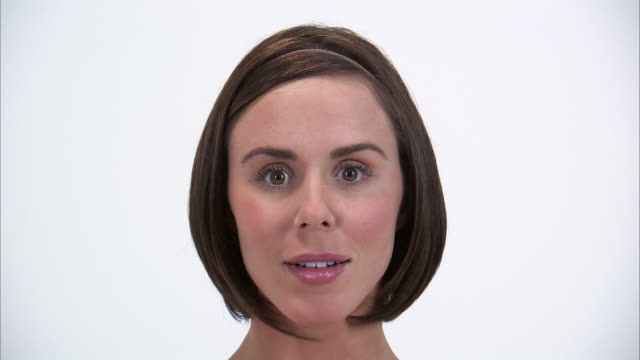 CU Studio portrait of surprised young woman / Orem, Utah, USA