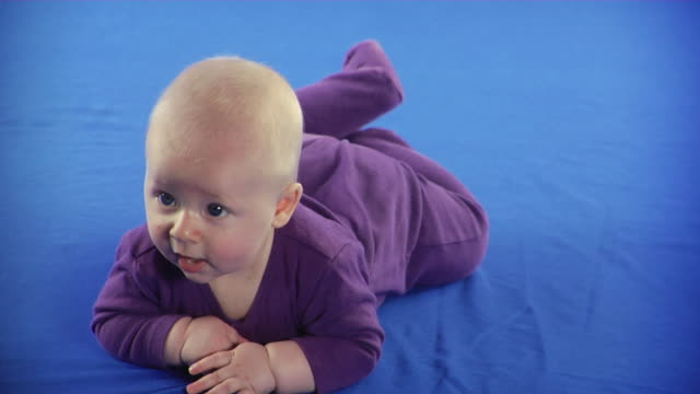 ms studio shot of baby boy (2-5 months) lying on front on blue screen - kelly mason videos stock videos & royalty-free footage
