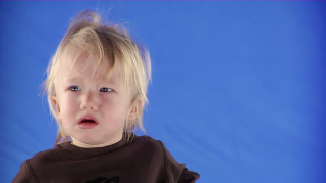 cu studio shot of baby boy (12-17 months) on blue screen - kelly mason videos stock-videos und b-roll-filmmaterial