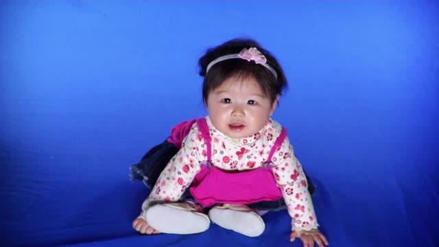 vidéos et rushes de ws studio shot of baby girl (6-11 months) on blue screen - kelly mason videos