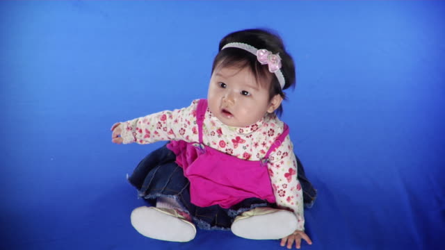 ws studio shot of baby girl (6-11 months) on blue screen - kelly mason videos stock videos & royalty-free footage