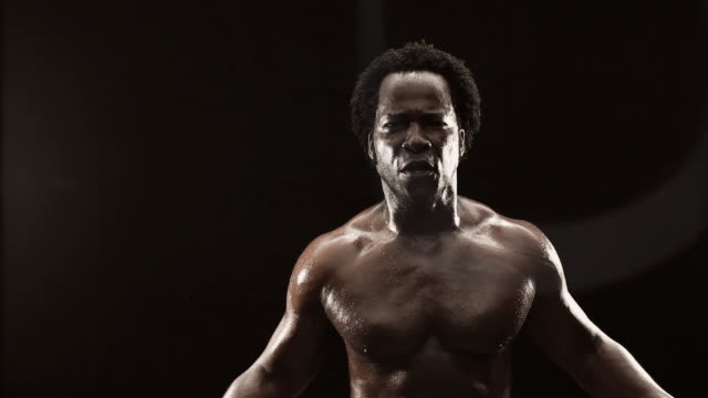 MS Studio shot of boxer jumping rope