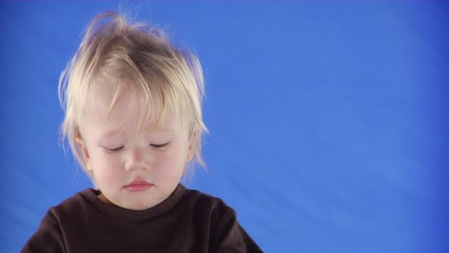 vidéos et rushes de cu studio shot of boy (12-17 months)) on blue screen - 12 17 mois