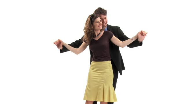 ms studio shot of couple dancing and kissing, vrhnika, slovenia - vrhnika stock videos and b-roll footage