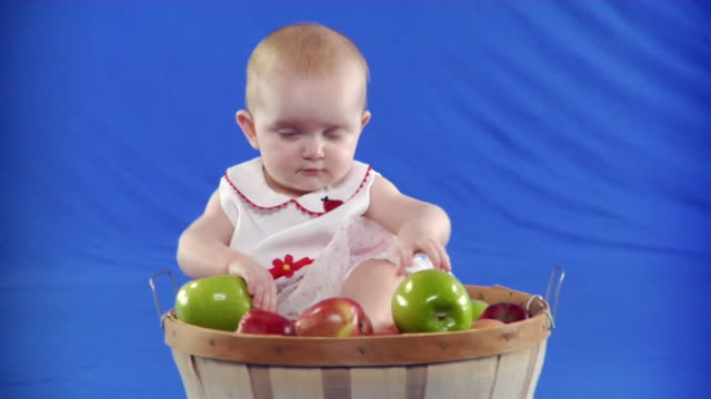 cu studio shot of girl (6-11 months) with basket of apples on blue screen - kelly mason videos stock-videos und b-roll-filmmaterial