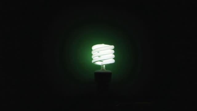 ws zi studio shot of illuminated energy saving light bulb on green background - energy efficient lightbulb stock videos & royalty-free footage