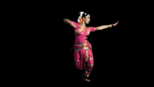 ws, studio shot of kuchipudi dancer, india - full length stock-videos und b-roll-filmmaterial