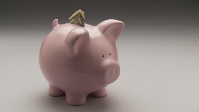 ms, tu, studio shot of pink piggy bank with one dollar bill - saving up for a rainy day stock videos and b-roll footage