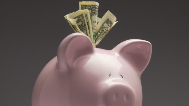 CU, Studio shot of pink piggy bank with one dollar bills rotating