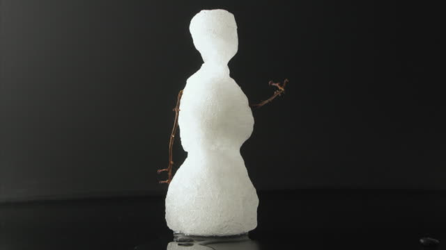 t/l ms studio shot of snowman melting - snowman stock videos & royalty-free footage