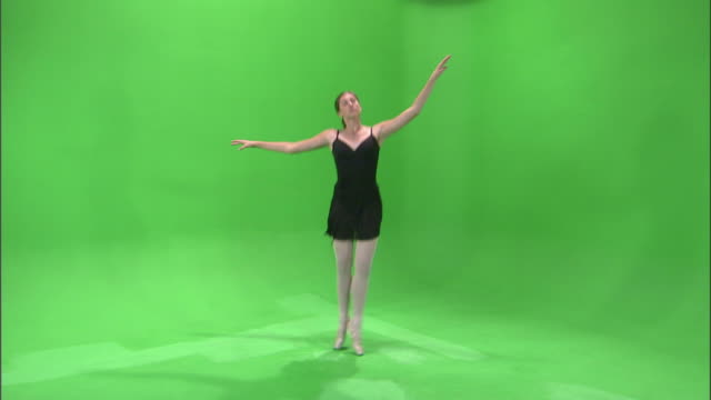 ws studio shot of teenage (16-17) ballerina dancing / orem, utah, usa - ballet shoe stock videos and b-roll footage