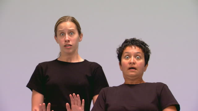 studio shot of two women mimes - mime artist stock videos & royalty-free footage