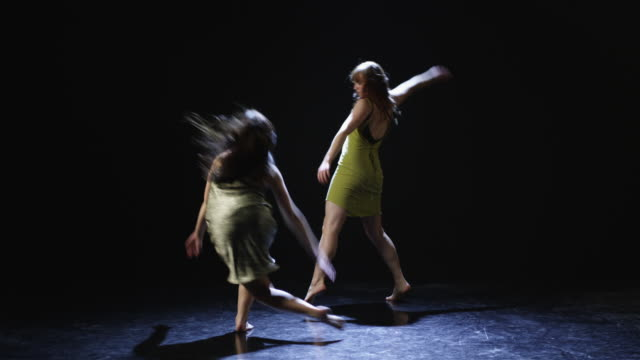 ws studio shot of two young women dancing - modern dancing stock videos & royalty-free footage