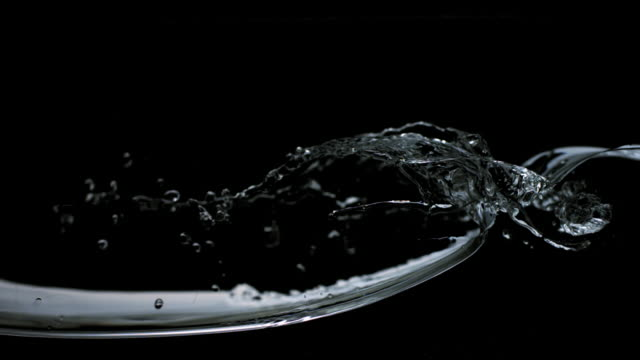 slo mo cu studio shot of water wave against black background - welle stock-videos und b-roll-filmmaterial