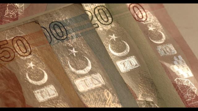 stockvideo's en b-roll-footage met studio shots of turkish lira notes london uk on wednesday august 152018 - financieel item