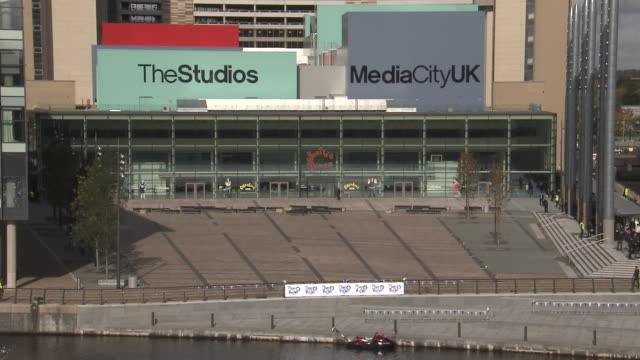 studios at media city, salford quays. available in hd. - salford quays stock videos & royalty-free footage