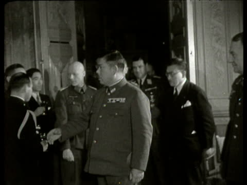 A study commission of the imperial Japanese army meets German army officers at a reception at the castle OudWassenaar