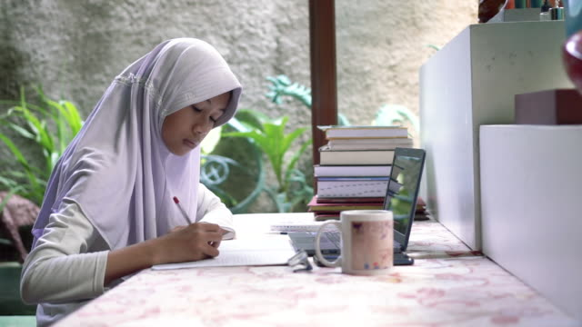 studying at home - hijab stock videos & royalty-free footage