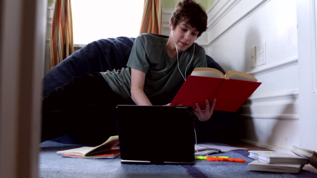 studying at home - teenage boys stock videos & royalty-free footage