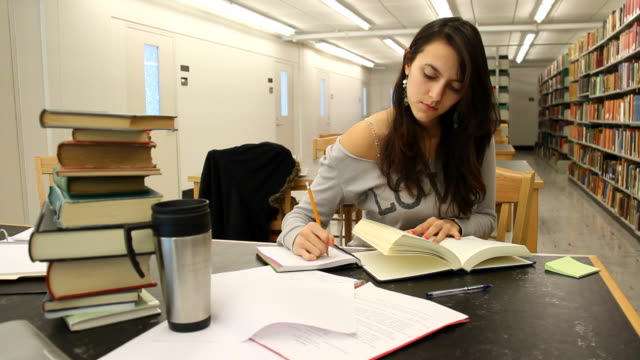 Studying at the library