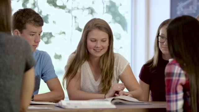 vídeos y material grabado en eventos de stock de estudiando juntos - estudiante de bachillerato chica