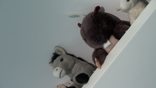stuffed animal toys in a child's bedroom - messing about stock videos & royalty-free footage