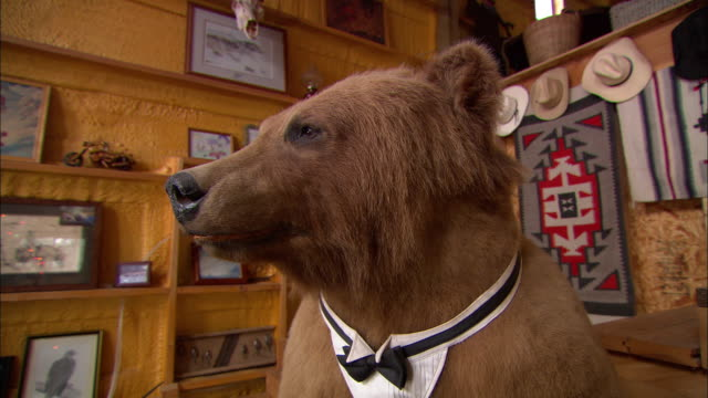 A stuffed bear wears a bow tie while holding a tray of beer, cigars and a remote control.