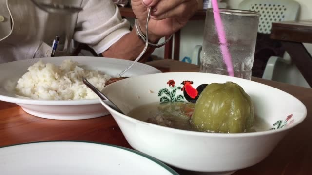 stuffed bitter gourd with minced pork soup - gourd stock videos & royalty-free footage