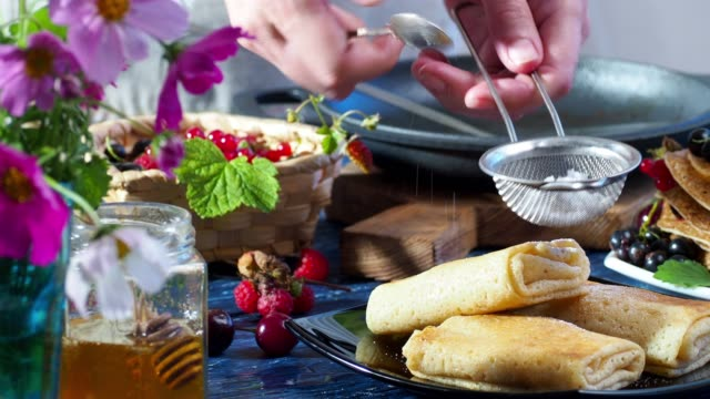 stuffed crepes with fresh berries - crepe stock videos & royalty-free footage