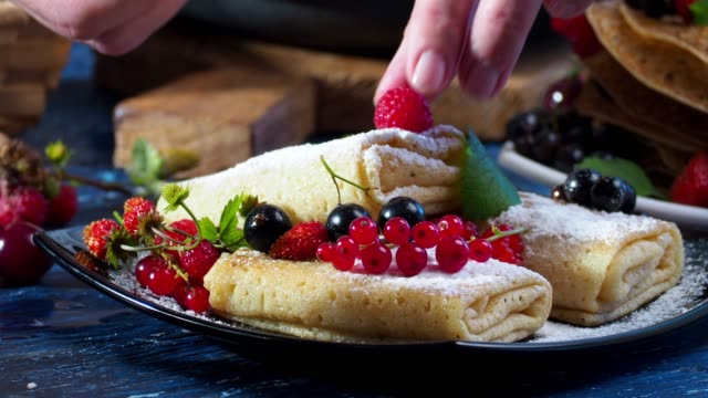 stuffed crepes with fresh berries - sweet food stock videos & royalty-free footage