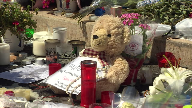 Stuffed toys messages and flowers left for the victims of the Nice terror attack