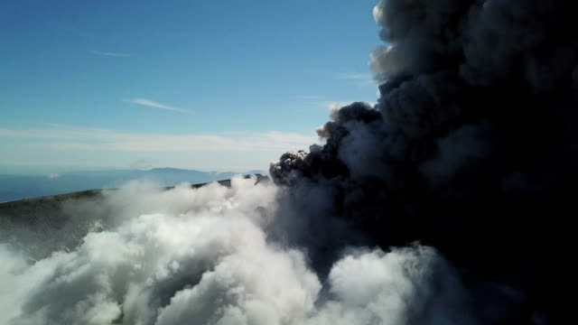 Stunning aerial footage of Shinmoedake volcano exploding and erupting large ash cloud from its crater on 6th March 2018