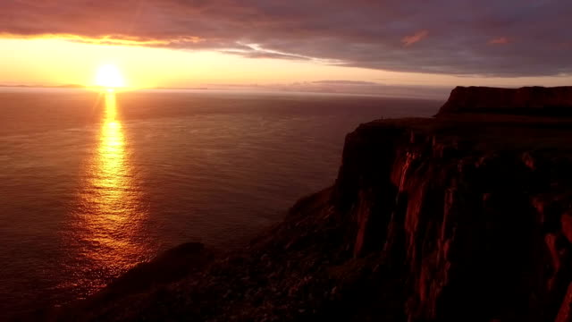 Stunning aerial shot along the coast on the Isle of Skye during a sunset