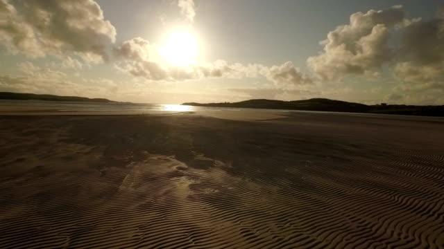 stunning aerial shot on the isle of harris, scotland, flying over luskentyre beach - twilight stock videos & royalty-free footage