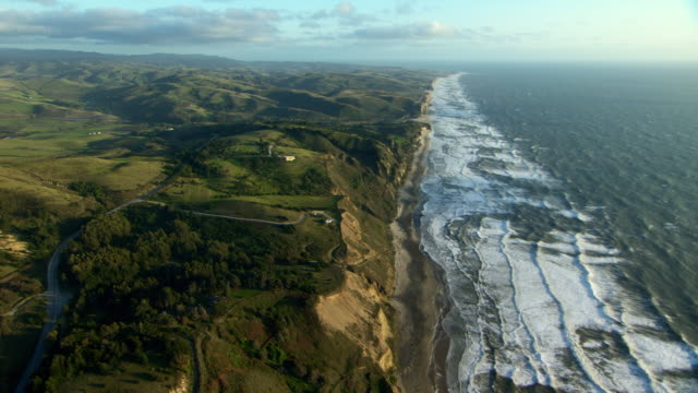 Stunning aerial view of coastline in San Mateo County, California.