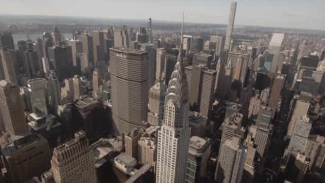 stunning aerial view of manhattan new york city - chrysler building stock videos & royalty-free footage