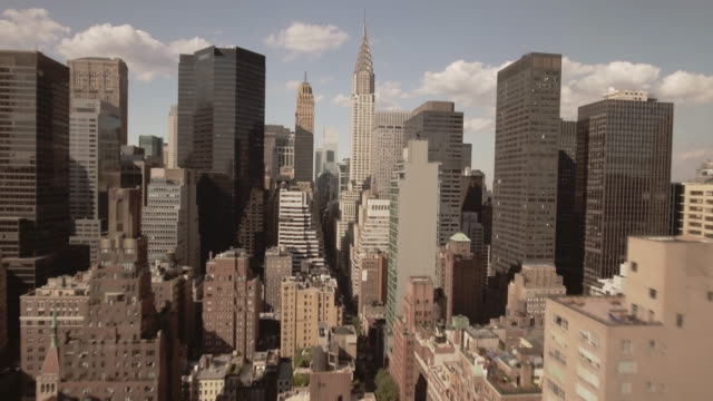 stunning aerial view of manhattan new york city - empire state building video stock e b–roll