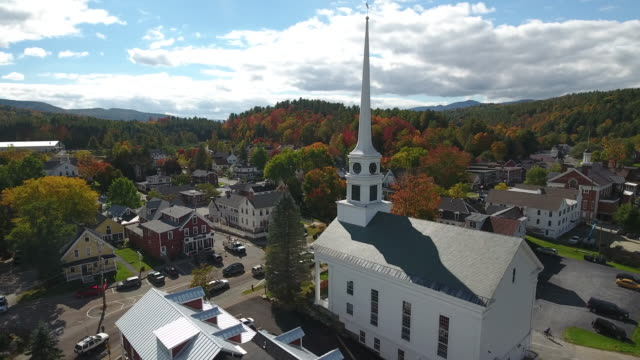 stunning aerial view of stowe, vermont. usa - church stock videos & royalty-free footage
