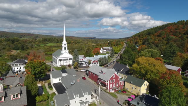 stunning aerial view of stowe, vermont. usa - stowe vermont stock videos & royalty-free footage