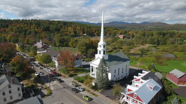 stunning aerial view of stowe, vermont. usa - new england usa stock videos & royalty-free footage