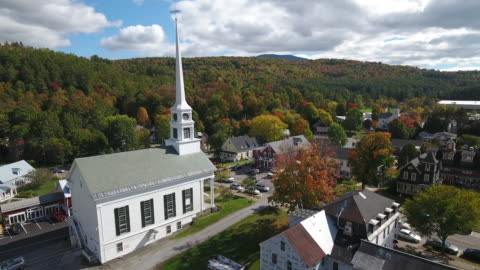 stunning aerial view of stowe, vermont. usa - small town america stock videos & royalty-free footage